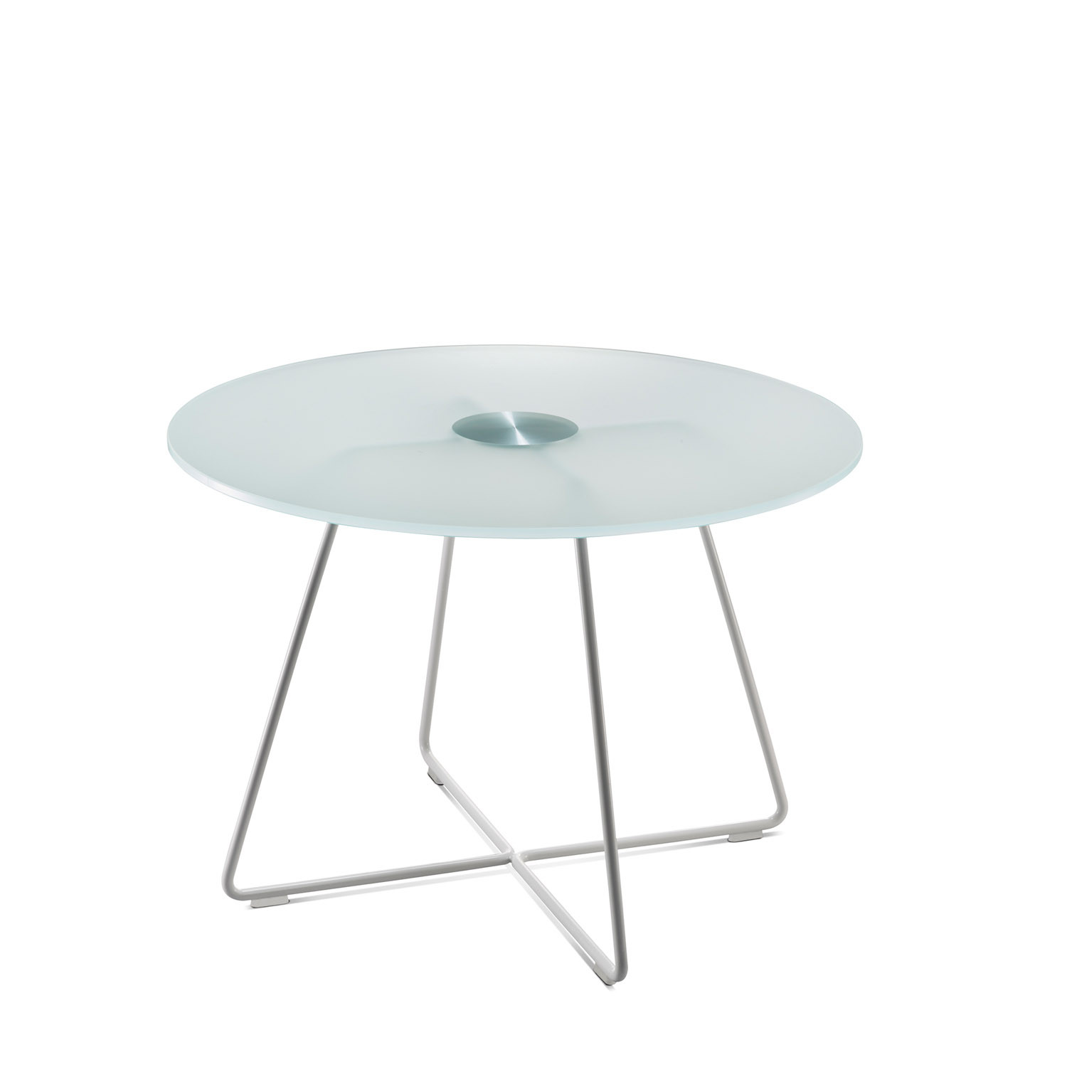 Swoosh Round Glass Table with Wire Base