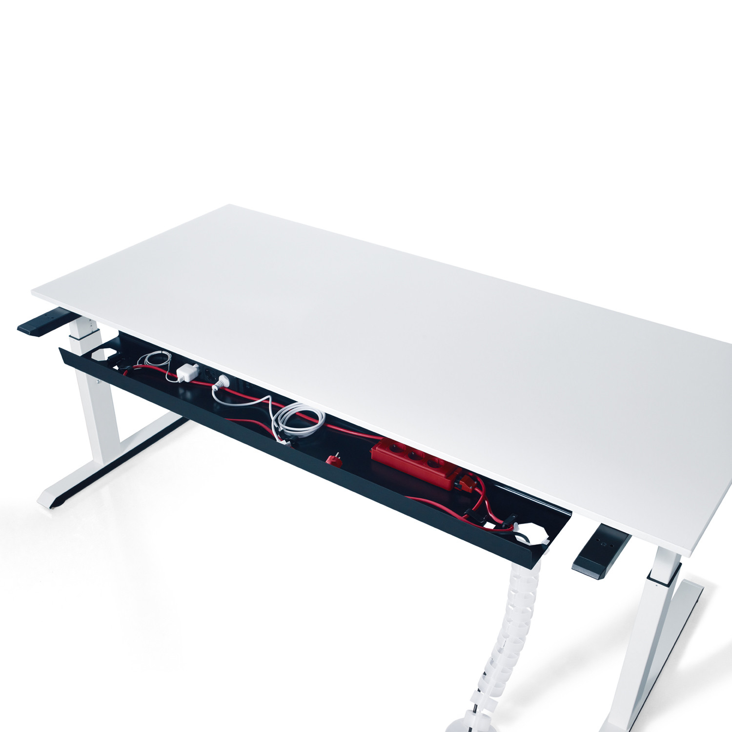 Temptation C Desk featuring cable tray management