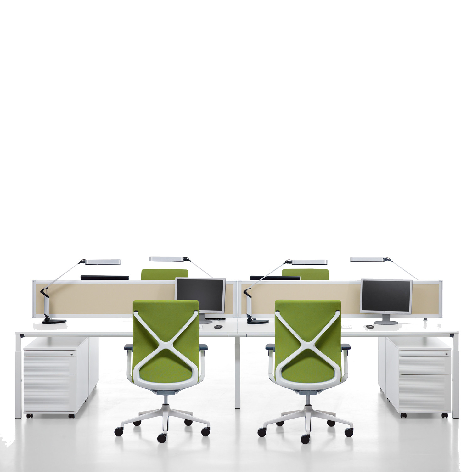 Temptation Four-Leg Desks + Storage + Desk Screens