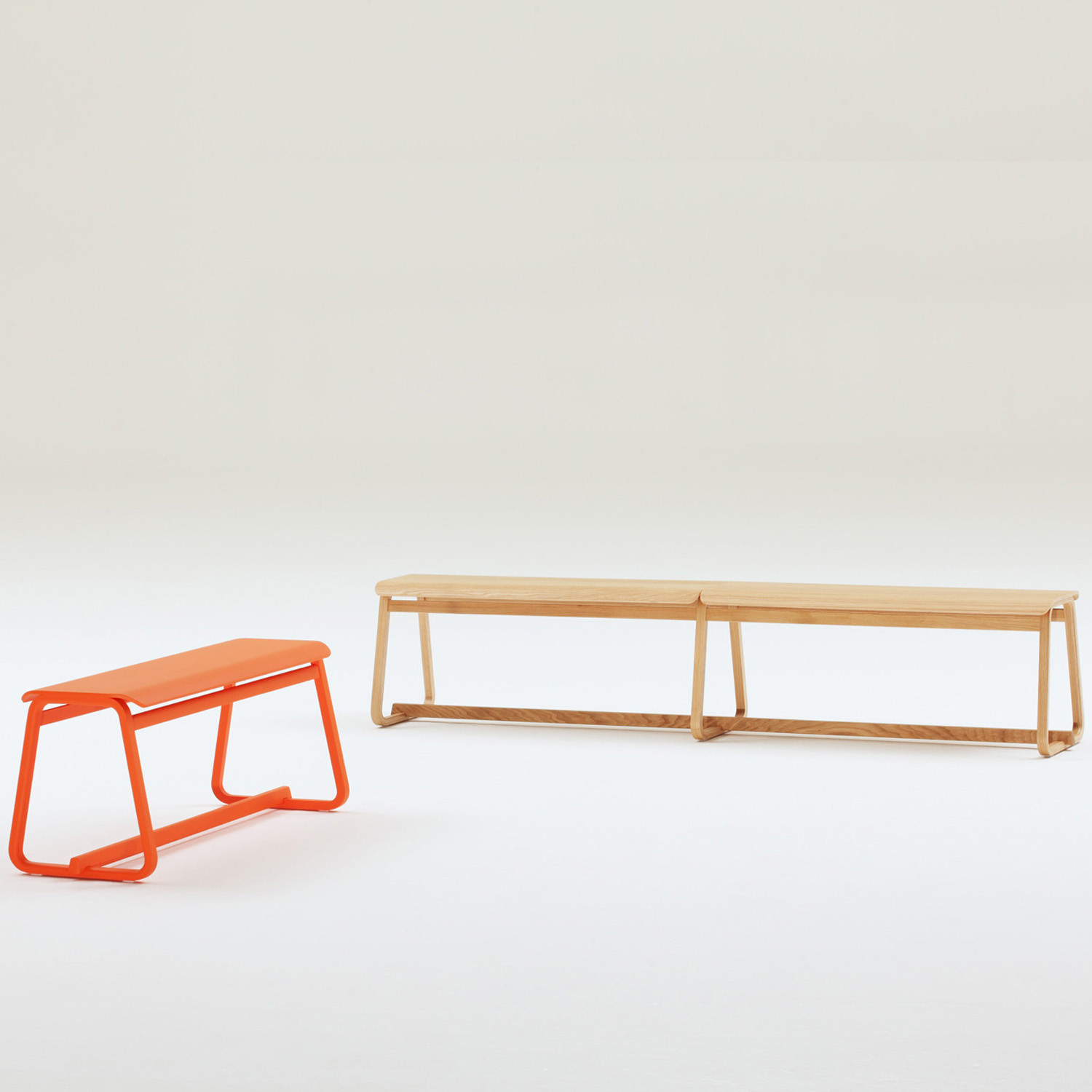 Theo Benches with veneered seats