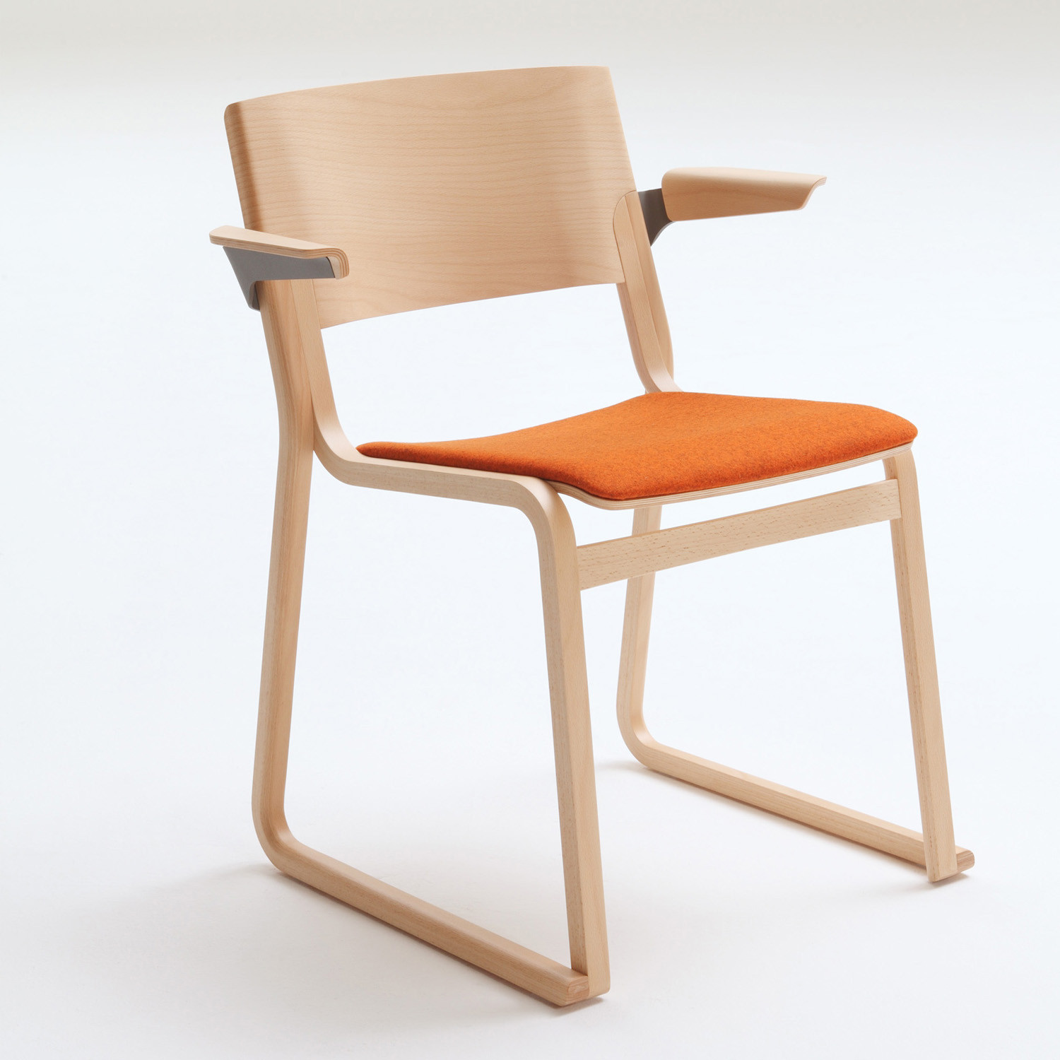 Theo Armchair with fixed upholstered seat pad