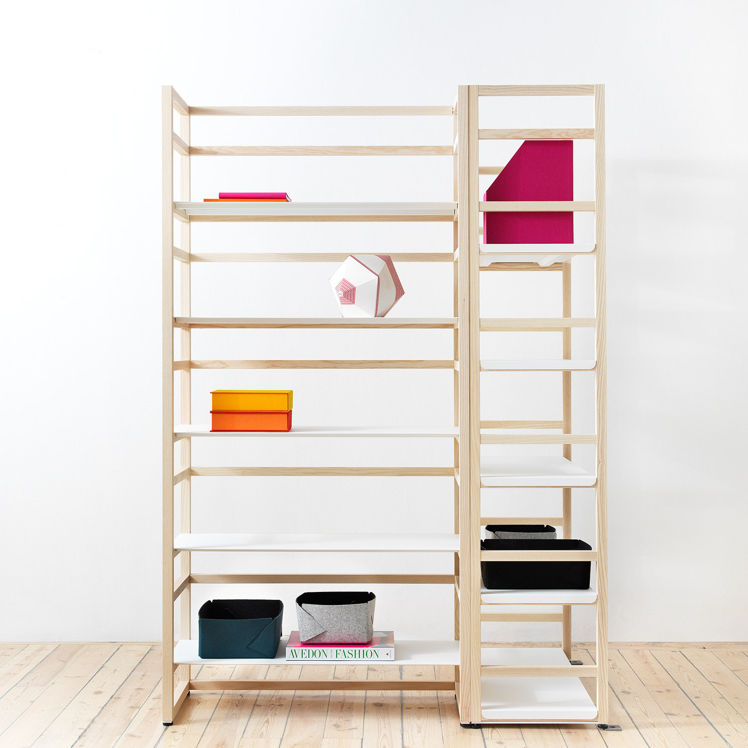 Tre Wooden and Metal Shelving