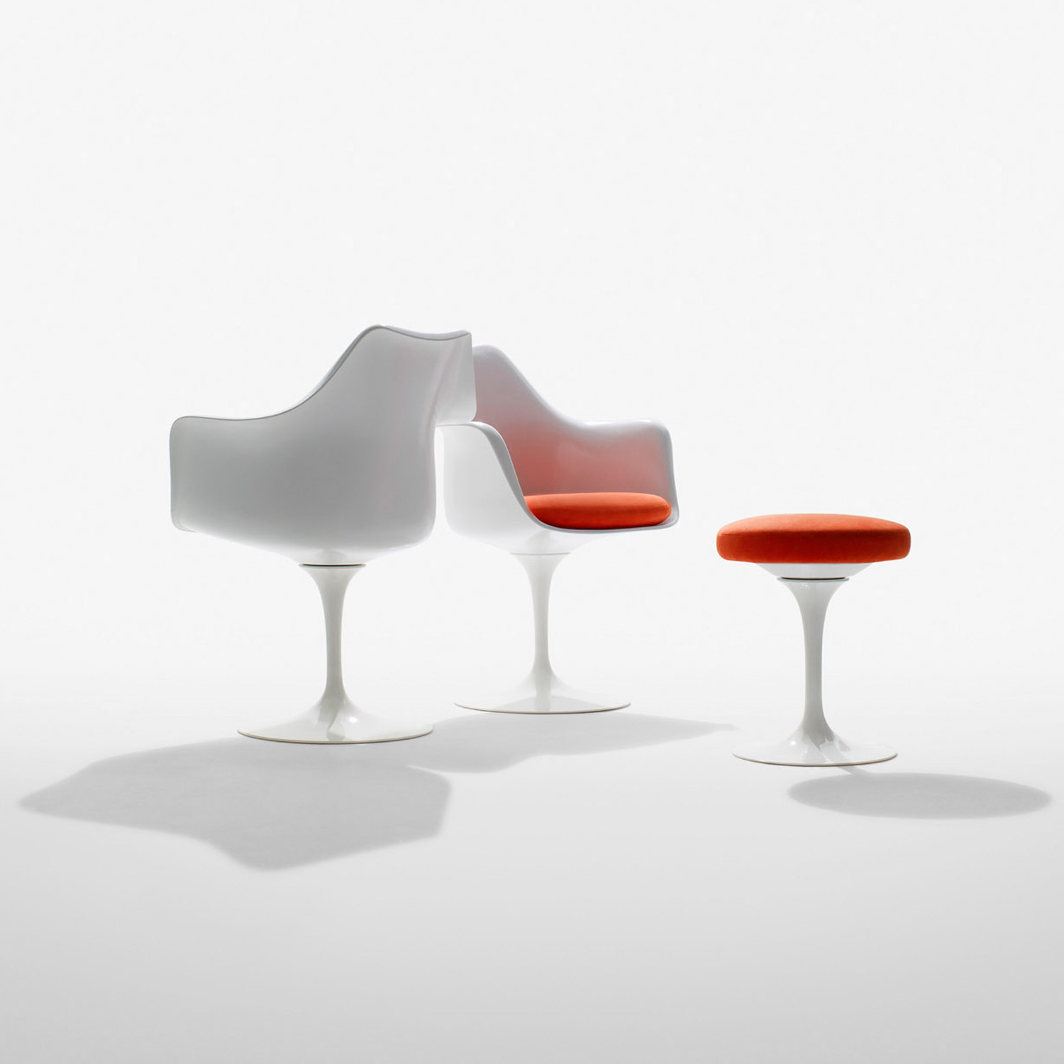Tulip Arm Chairs and Stool by Knoll