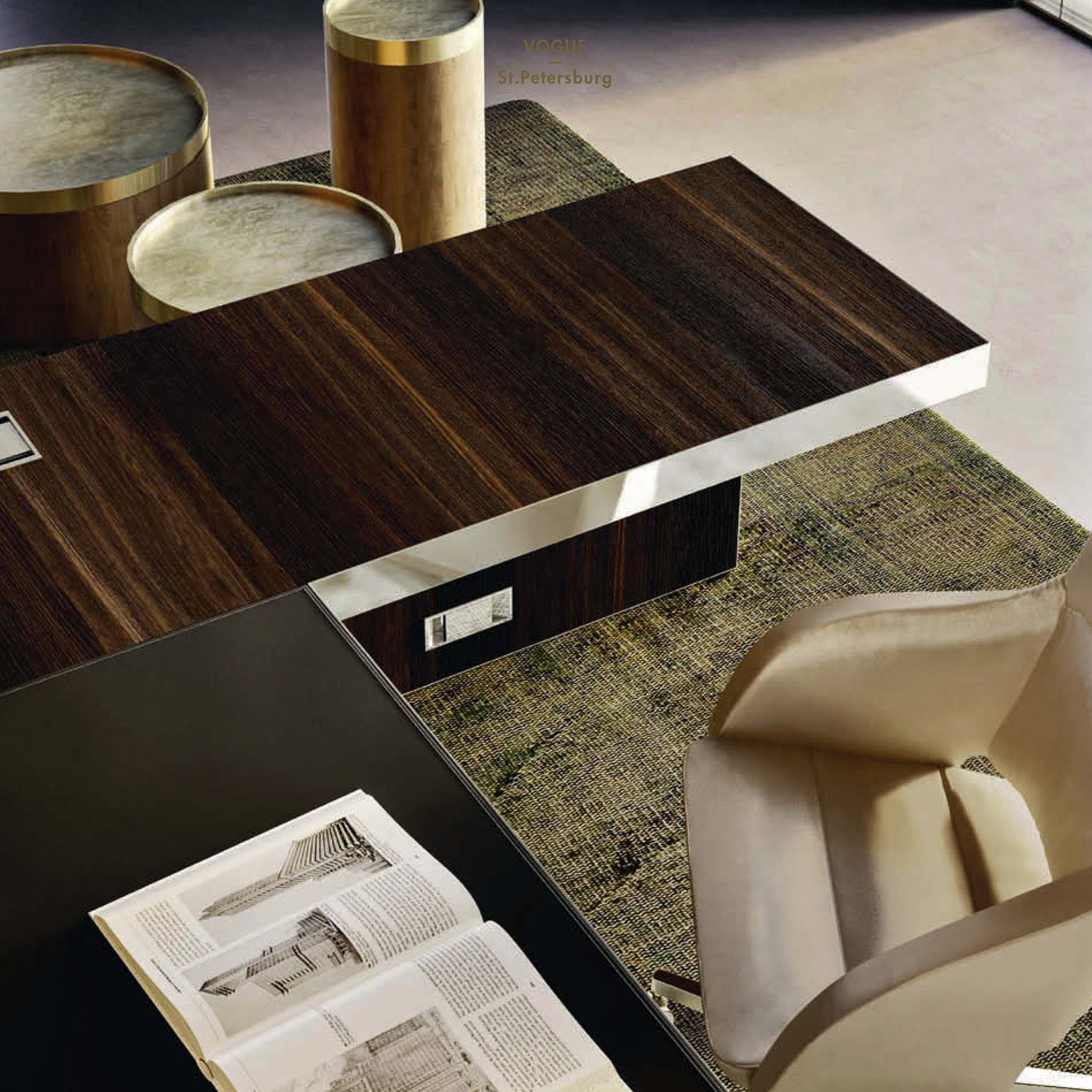 Vogue Executive Desk Leather and Wood Detail
