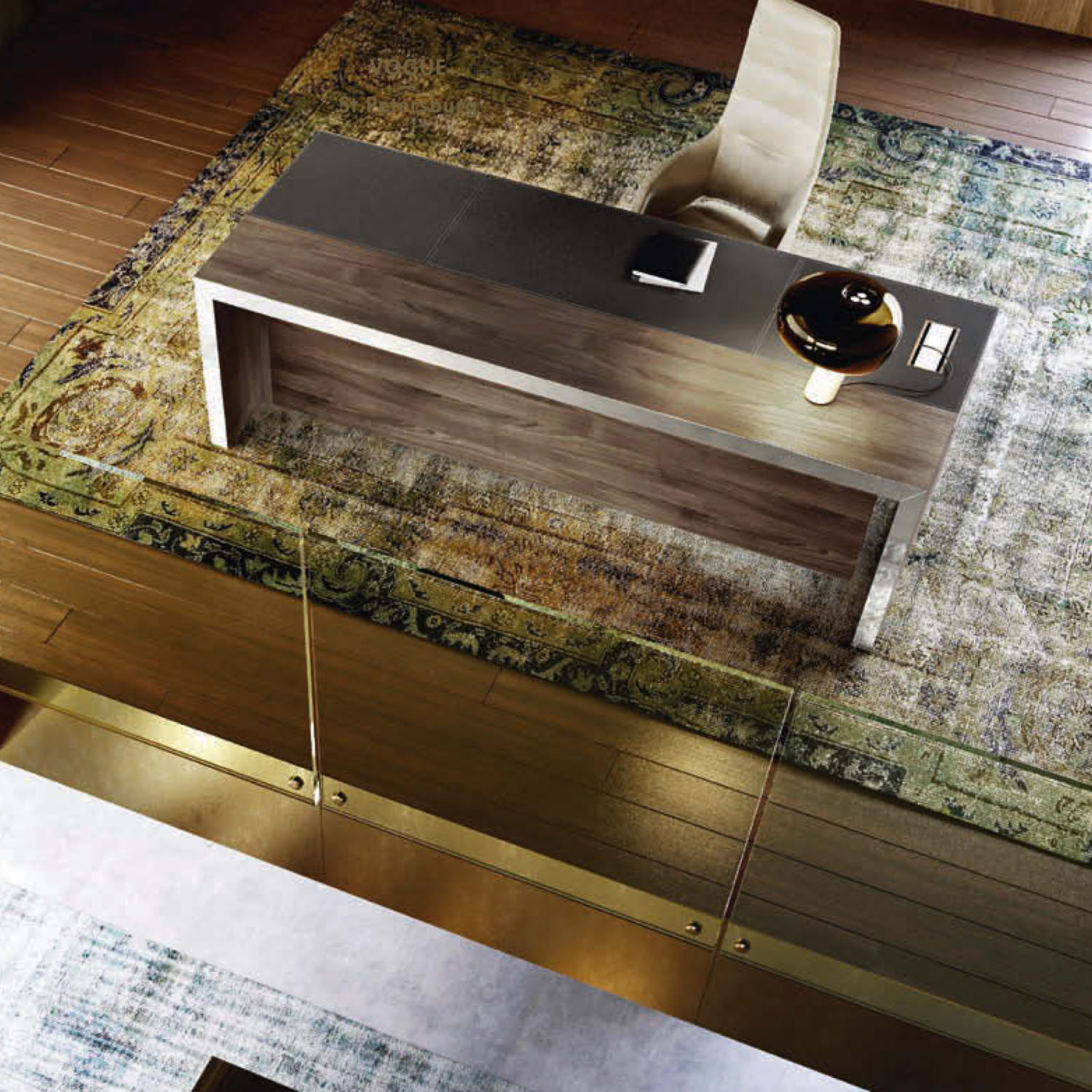 Vogue Desk St Petersburg with Leather Inlay