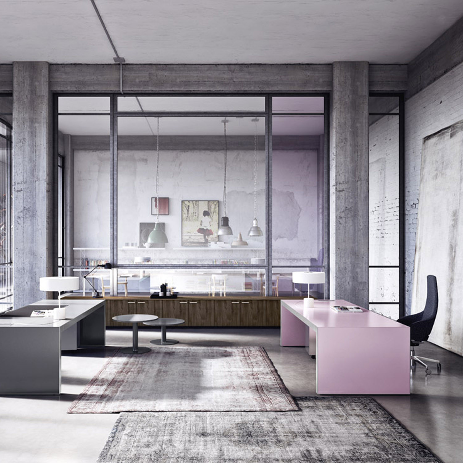 Vogue Executive Desks in Pink Pastel