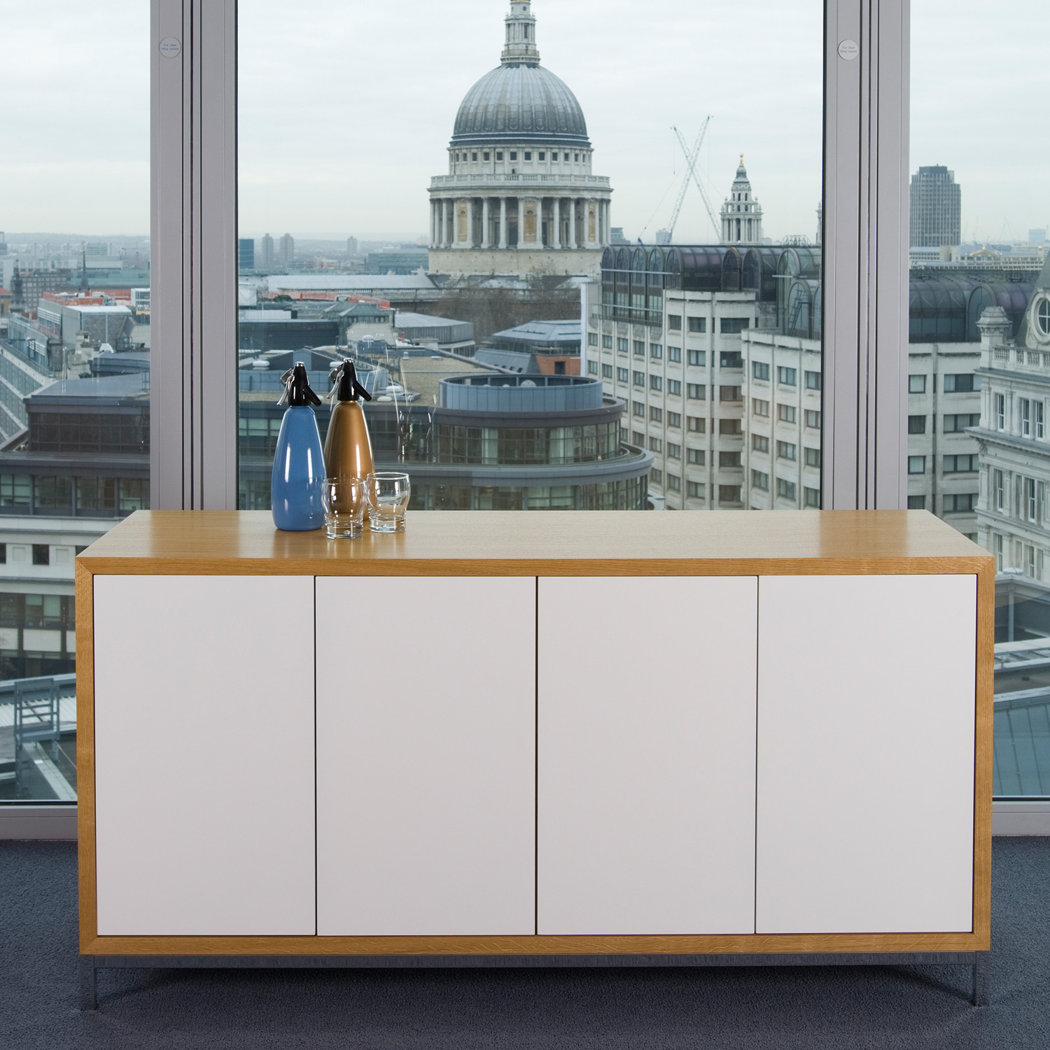 Crome Credenza with white doors and veneer carcass