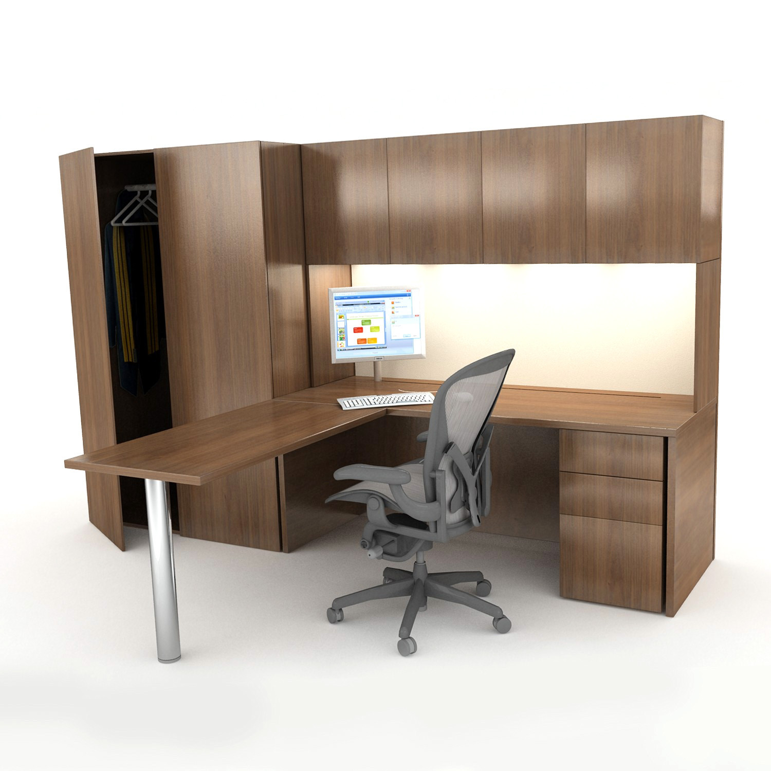 Bespoke Walnur Workwall Desk and Storage