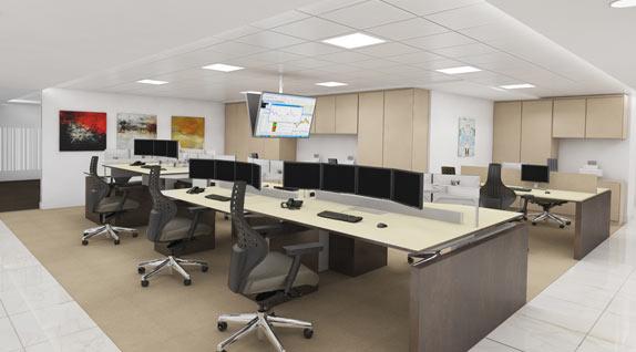 3D Render of office space plan